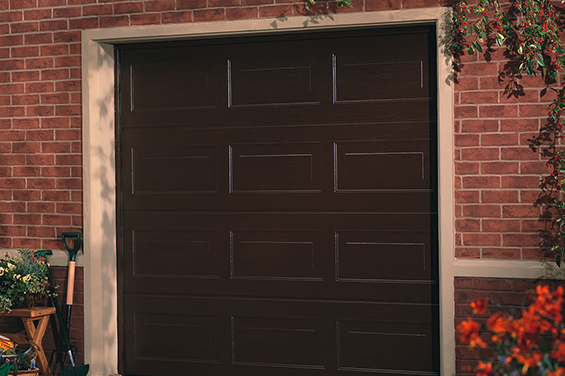 sectional garage door installed in the client house